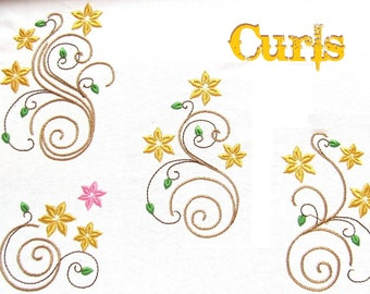 Floral Curls set - machine embroidery designs - machine embroidery designs - for 4x4, 5x7 INSTANT DOWNLOAD