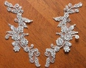 Ivory Alencon Lace Appliques With Silver Thread Floral Embroidered Patches For Wedding Supplies Bridal Hair Flower Headpiece 1 Pair