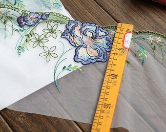 2 Yards Lace Trim Exquisite Flower Embroidered Tulle Lace 7 Inches Wide High Quality