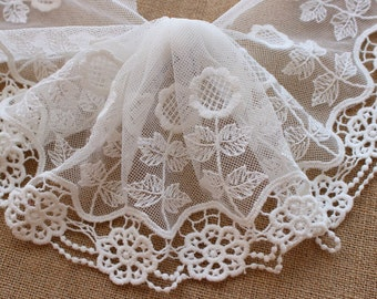 Cream White Lace Trim Sunflower Embroidered Tulle Lace Trim 5.51 Inches Wide 2 yards