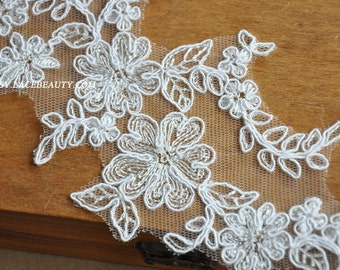 Alencon Lace Appliques Ivory Floral Embroidered Patch For Wedding Supplies Bridal Hair Flower Headpiece 1 PCS