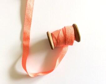 Coral & Gold Trim, Ribbon, Cotton, Vintage, French