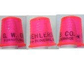 Vintage Thimble Advertising Furniture Funeral Service G W Oehlers Co Bright Pink Plastic