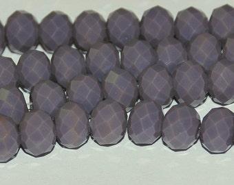 20 pcs 6x4mm Opaque Plum Rondelle Glass Beads