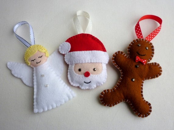 Selection of handmade felt christmas ornaments - How to make felt christmas decorations ...