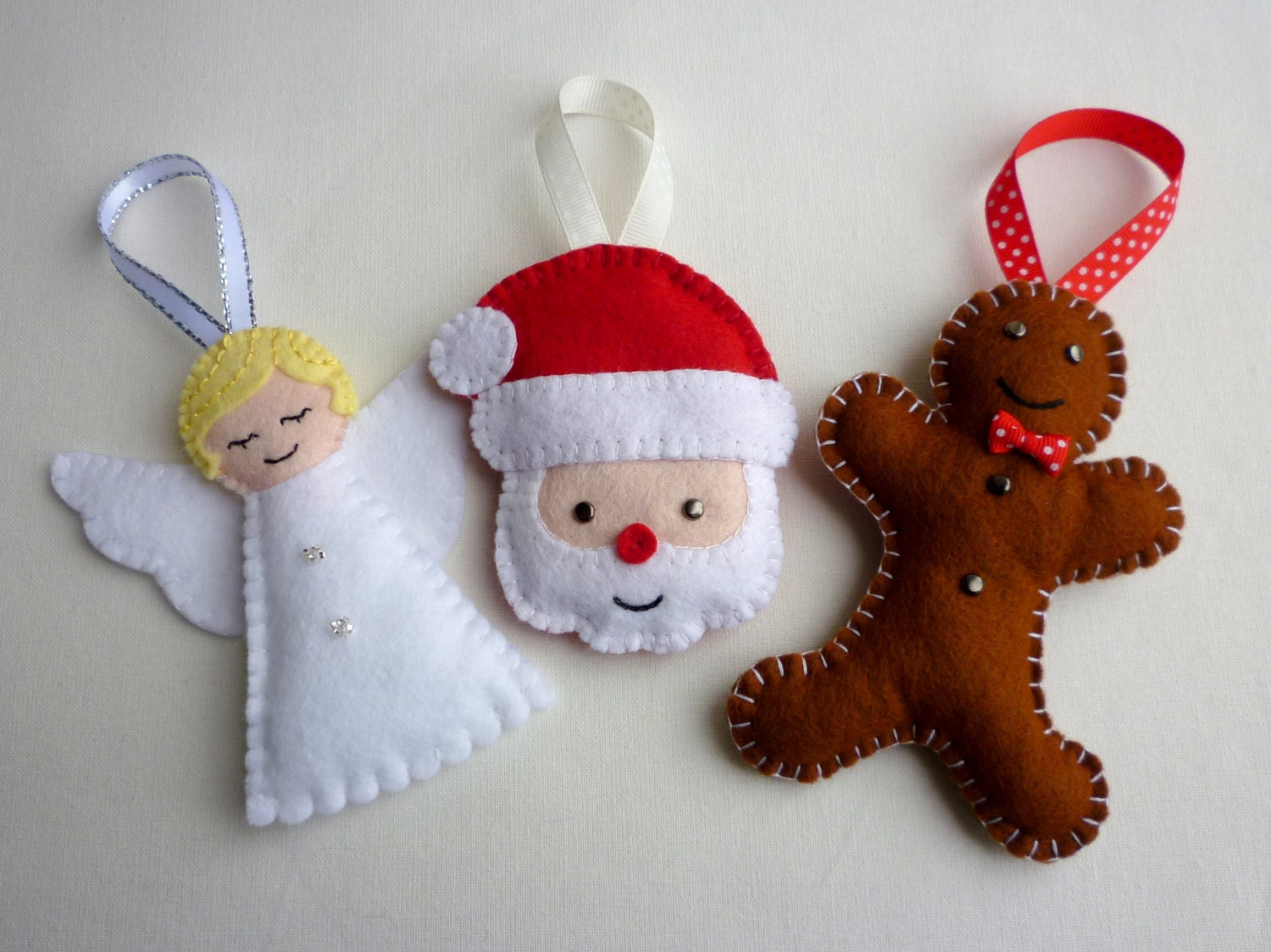 Selection of handmade felt christmas ornaments