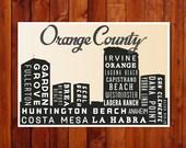 Poster Print, CALIFORNIA Skyline, Orange County Retro Art, Pop Art, Typographic Print, Home Decor, City Art Print, 18 x 24