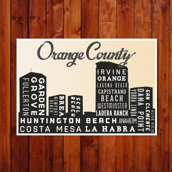 Poster Print CALIFORNIA Skyline Orange County By