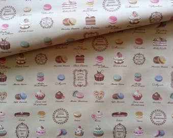 Japanese Fabric Cotton Yuwa - Mini Patisserie beige - a yard