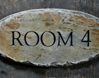 CUSTOM Carved DOOR SIGN / Stone /Slate / Plaque / Label / Office / Name / Room /stable #E-1c