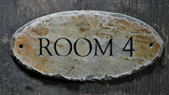 Custom carved door sign stone slate plaque label