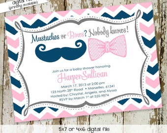gender reveal invitation gender neutral baby shower mustache or bows chevron twins baby sprinkle (item 1444) shabby chic baby shower invites