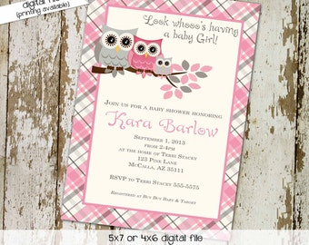owl baby shower invitation owl first birthday baby girl shower baby sprinkle baptism diaper couples bash (item 1372) shabby chic invitations
