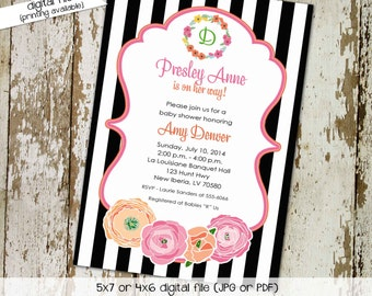baby girl shower invitation black and white stripe floral baptism christening baby blessing sip and see (item 1360) shabby chic invitations