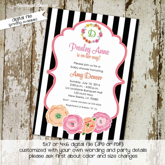 floral chic black and white stripe co-ed baby shower diaper wipe brunch shabby chic it's a girl shower with love gay 1360 Katiedid Designs