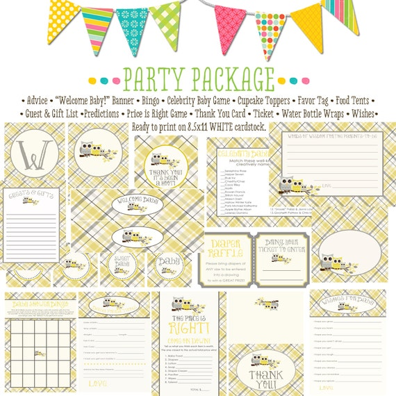 Owl baby shower item 1446 party package AS IS Matching games, ticket, banner, bingo, thank you card, water bottle wraps, cupcake toppers