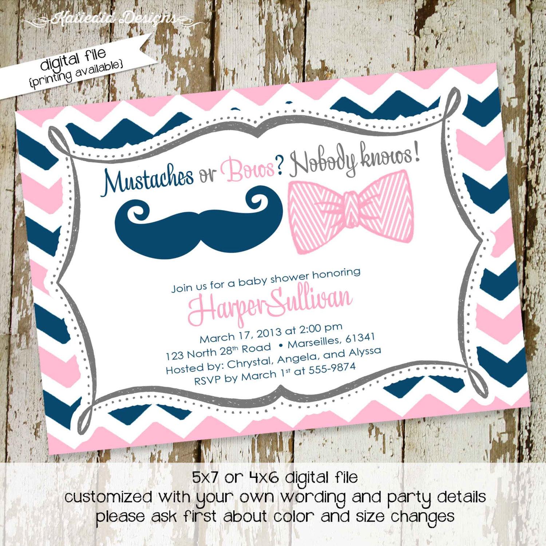 gender reveal invitation gender neutral baby shower mustache