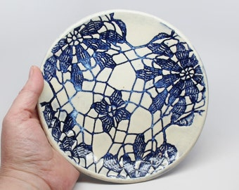 Handmade Lace Impressed Stoneware Dish or Small Plate in Blue and White