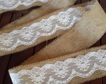 Burlap and lace ribbon - 3 yards