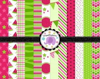 Watermelon Digital Paper Pack 1, watermelon digital backgrounds, digital scrapbook paper, Instant Download, Commercial Use