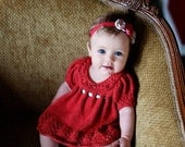 Gracie Dress PATTERN Pack, Dress and Bloomers, Spring, Newborn-12 Months, Lace Knitting, Photo Props, Photography Props, Red, Classic