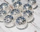 "Round Beads Filigree Beads, Iron, Metal, Silver Color 20mm, hole: 2.5mm, Nickel Free, 3/4"" Diameter"