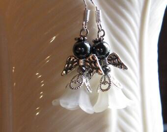 Angel Earrings Perfect Black Hematite Face 5-Petal Flower Off White Cream Dress Silver Metal Wings Halo - Hanging