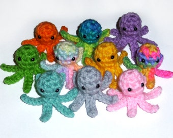 12 Tiny Crochet Squidlets - 1 Dozen (12) Plushies - Choose Your Colors - Wedding, Baby Shower, Birthday Party Favors
