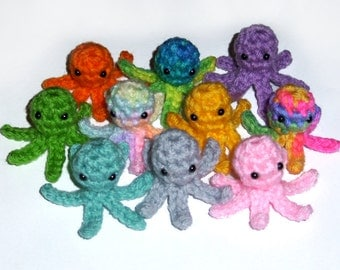 10 Crochet Tiny Squidlet Plushies - Mini Plush Squid Octopus, Set of 10, Choose Your Colors, Made to Order
