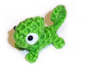 Mini Green Chameleon Plushie - 2.5 inch Small Crochet Animal Stuffed Toy Lizard - Made to order