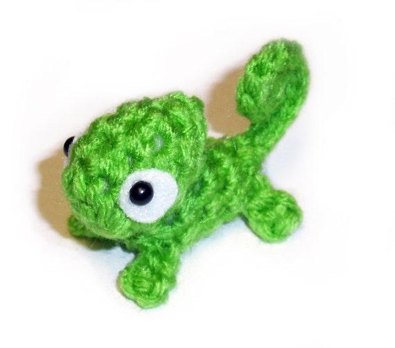 Mini Green Chameleon Plushie - 2.5 inch Small Crochet Animal Stuffed Toy Lizard - Made to order