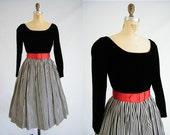 Vintage 1950s Dress / Black Velvet / Carol Craig