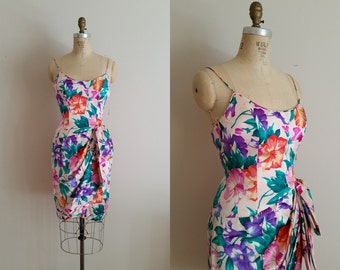 Vintage 1980s Silk Dress / Bright Floral Tulip Dress / Size 4 / Tags Still Attached / A.J. Bari / xs