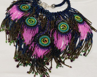 Beaded Peacock Necklace Statement Beadwork Necklace