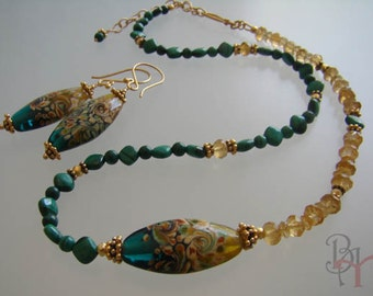 Citrine and Malachite, Art Glass beads, Vermeil Gold, Adjustable Necklace,Earrings.
