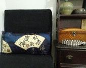 Midnight Blue Kanji and Fan Handmade Pillowcase; Set of Two