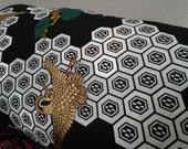 Japanese Crane Against Black and White Geometric Landscape Pillowcase OOAK SALE