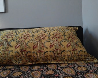Kalamkari EXTRA Wide Queen Size Body Pillowcase, Mustards and Blues