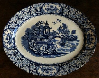 Antique English Blue and White Oval Serving Platter Plate circa 1910's / English Shop