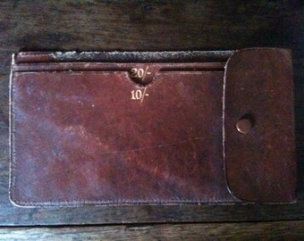 Vintage English Leather Shilling Note Brown Wallet circa 1950-60's / English Shop