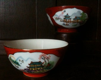 Vintage Chinese Pagoda Bowls Rice Noodle circa 1950's / English Shop