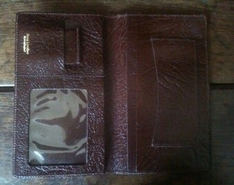 Vintage English Large Brown Leather Note Card Wallet circa 1970-80's / English Shop