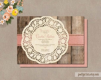 Rustic Baby Shower Invitations - DIY Printable Baby Shower Invitations - Caroline Collection