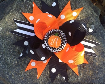 Halloween Pumpkin Personalized Initial Boutique Hairbow