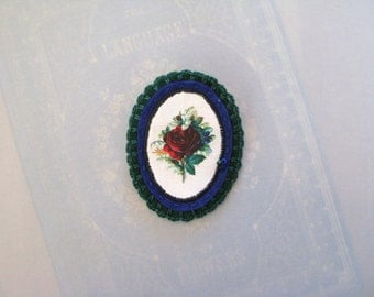 flower pin brooch - rose flower broach -  blue and green felt brooch - botanical victorian print - felt brooch - flower - floral