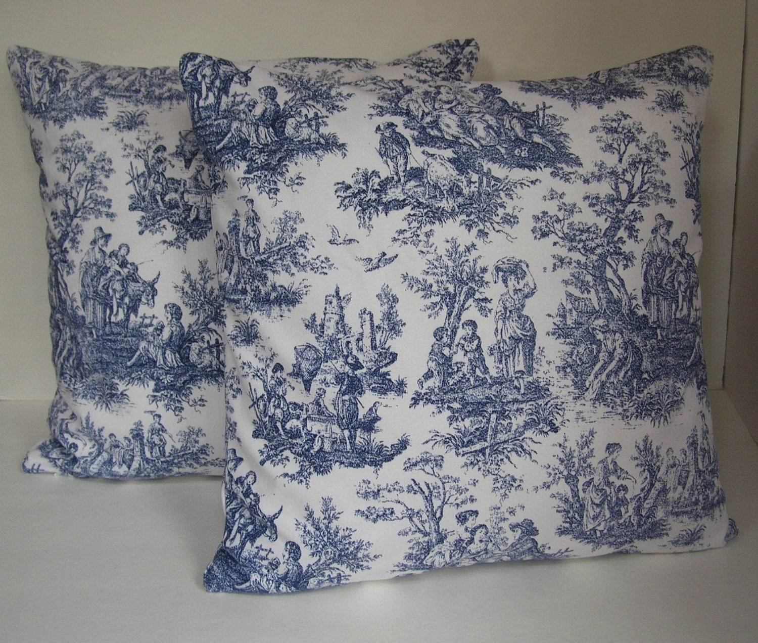 two 2 decorative navy blue and off white toile pillow covers. Black Bedroom Furniture Sets. Home Design Ideas
