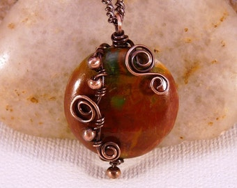 Wire Wrapped Jasper Pendant Necklace, Copper. Autumn Colors.
