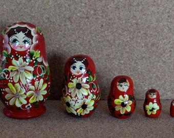 Red Babushka Nesting Doll russian Matryoshka Doll set of 5