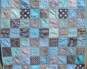 Handmade baby quilt in grey and light blue, gray, baby shower present, baby birthday present, baby boy present MADE TO ORDER