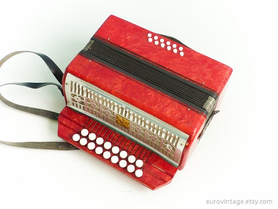 Vintage Small Accordion Red Pearl Russian for kids Working - RESERVED